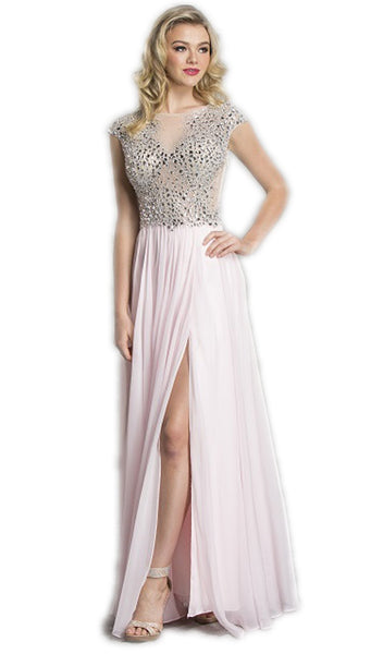 Crystal Embellished A-Line Evening Dress - ADASA