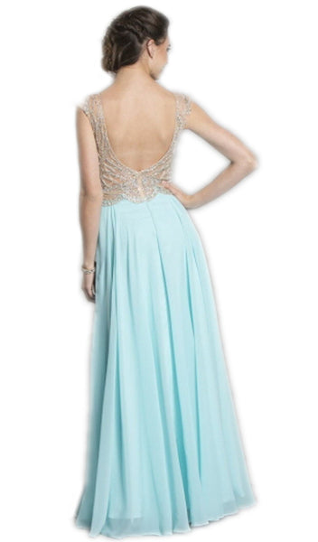 Embellished Plunging V-Neck Evening Dress
