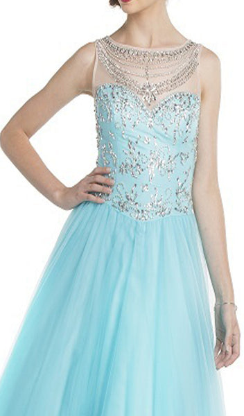 Embellished Illusion Bateau Evening Gown