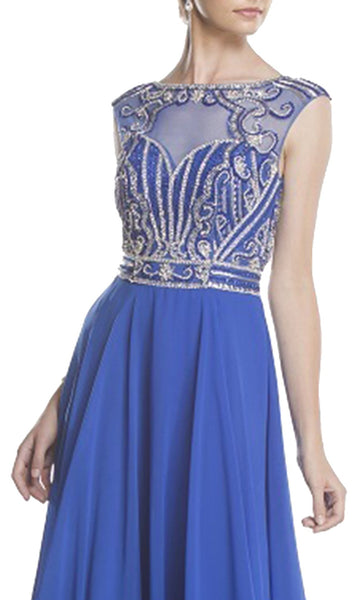 Embellished Illusion Bateau Prom Dress