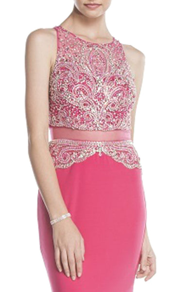 Embellished Mock Two Piece Prom Dress