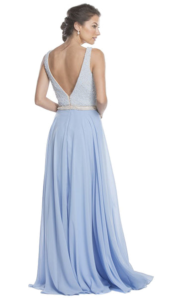 Embellished Plunging V-neck A-line Evening Dress