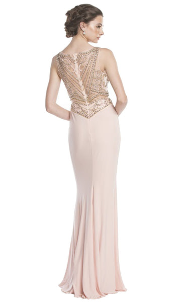 Mock Two Piece Illusion Bateau Prom Dress
