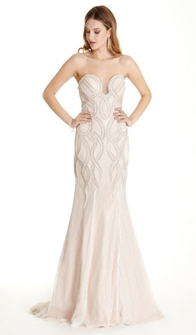 Embellished Strapless Trumpet Prom Dress