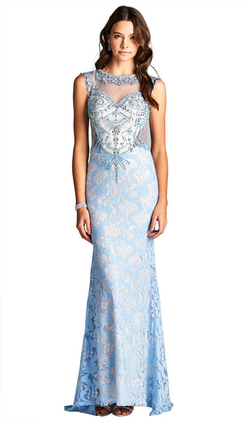 Embellished Illusion Bateau Evening Dress