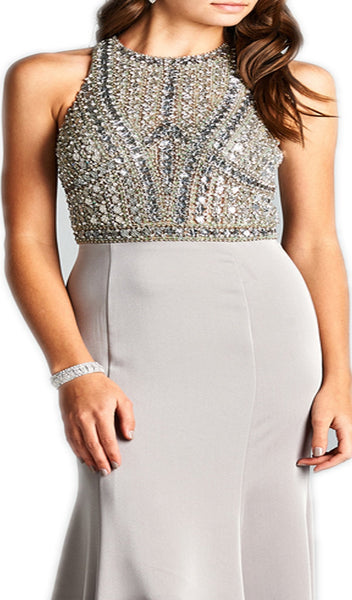 Bejeweled Halter Neck Sheath Evening Dress - ADASA