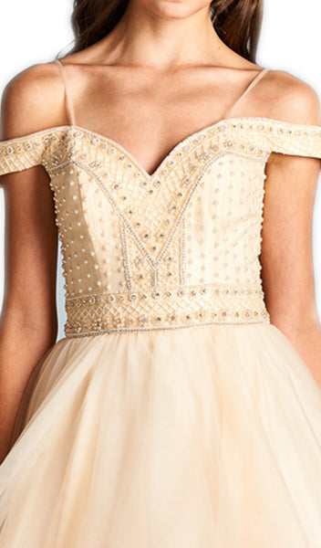 Pearl Beaded Off-Shoulder Evening Ballgown