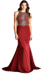 Graceful Bedazzled Halter Neck Long Sheath Dress