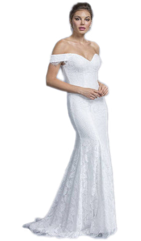 Lace Off-Shoulder Sheath Wedding Dress