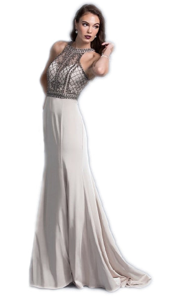 Jewel Accented Halter Prom A-line Dress