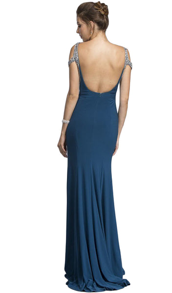 Embellished V-neck Prom Fitted Gown