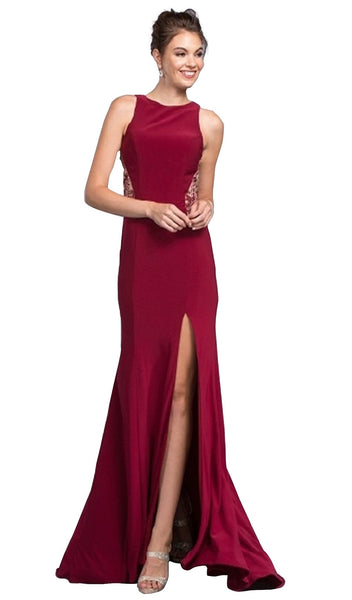 Bedazzled Bateau Fitted Prom Dress