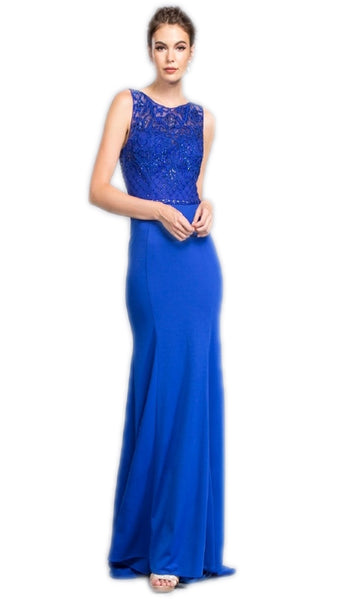 Embellished Illusion Jewel Prom Sheath Dress