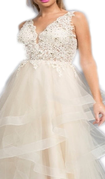 Lace V-neck Tiered Ruffled A-line Prom Dress