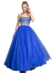 Floral Applique V-neck Quinceanera Ballgown