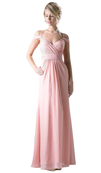 Draping Off-Shoulder Surplice Chiffon Formal Gown - ADASA