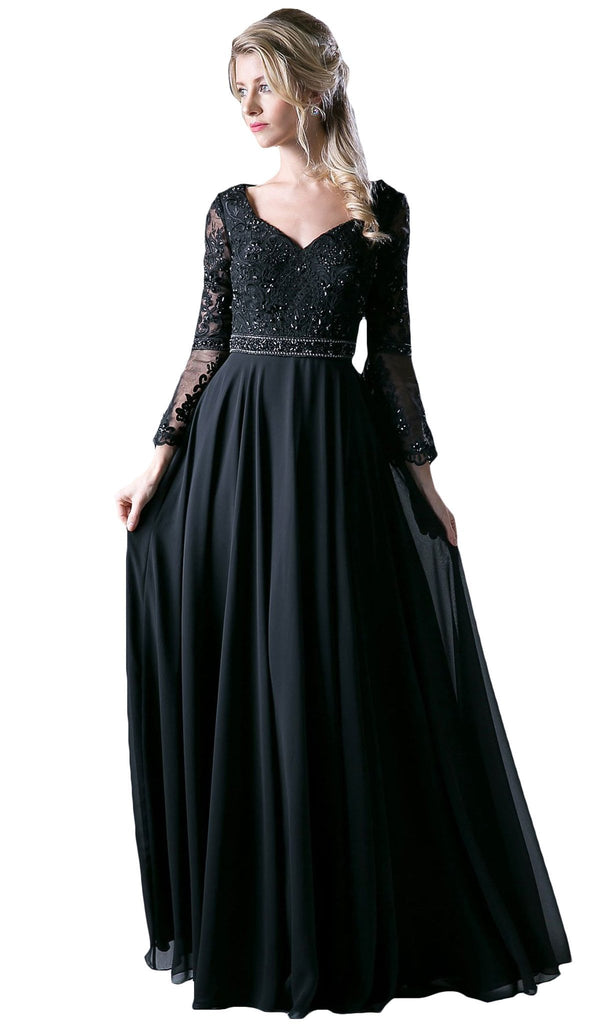 Long Bell Sleeve Lace Ornate A-Line Long Evening Gown