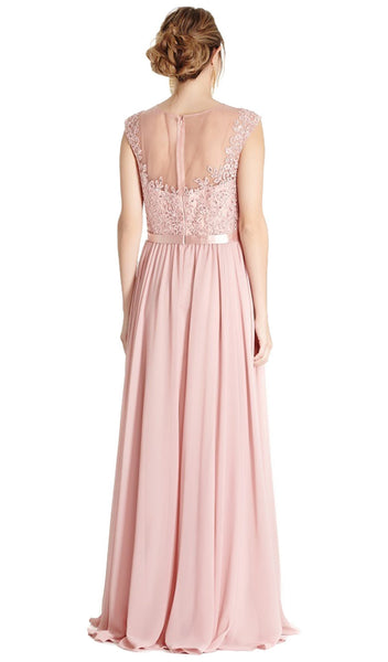 Lace Illusion Jewel Mother of Bride A-line Dress