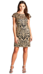 Bedazzled Illusion Bateau Sheath Mother of the Bride Dress