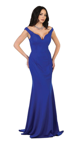 Off Shoulder Long Sheath Evening Gown