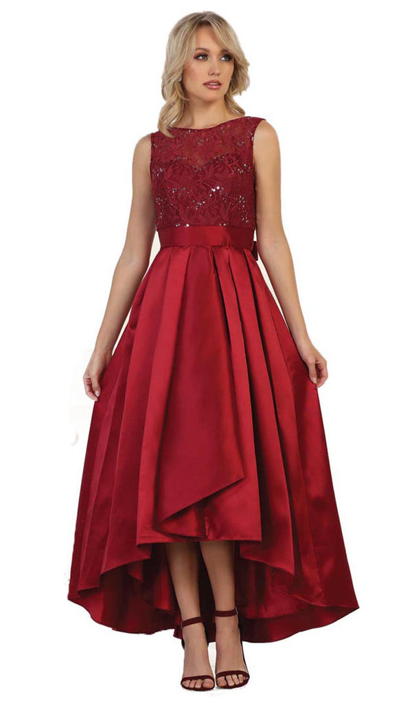 High Low Illusion Jewel A-line Evening Dress