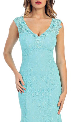 Aqua Lace V-neck Trumpet Evening Dress