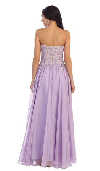 Floral Applique Chiffon Evening Dress