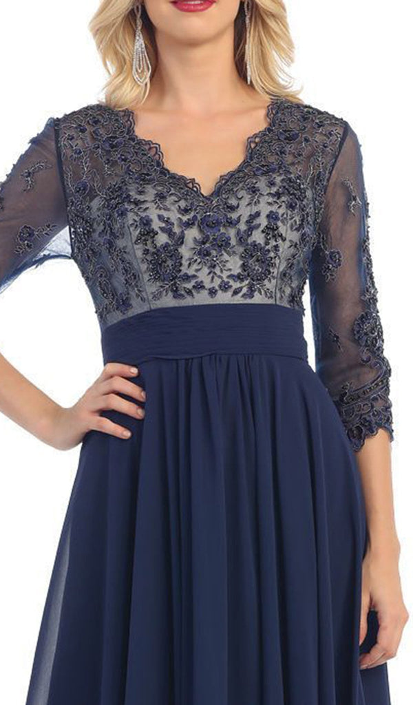 Quarter Sleeve Illusion Empire Formal Dress