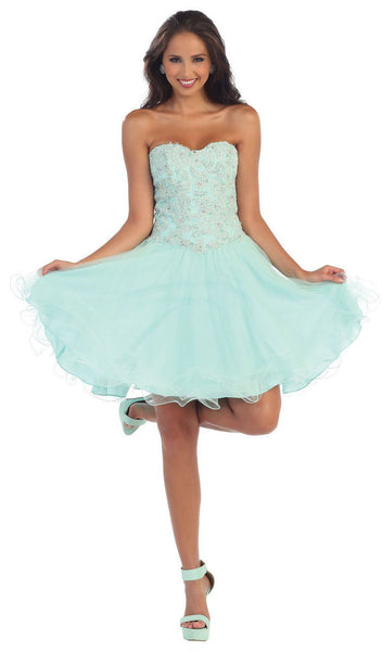 Strapless Laced Sweetheart A-Line Cocktail Dress