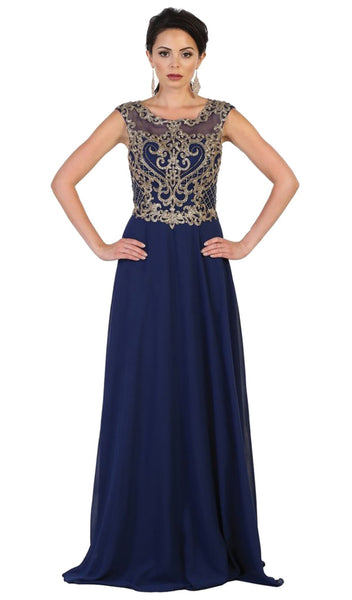 Embroidered Illusion Jewel A-line Evening Dress