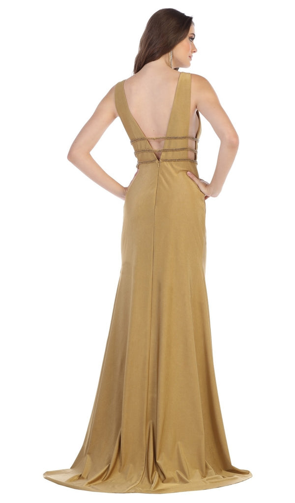 Plunging Beaded Tri-Band High Slit Gown In Gold