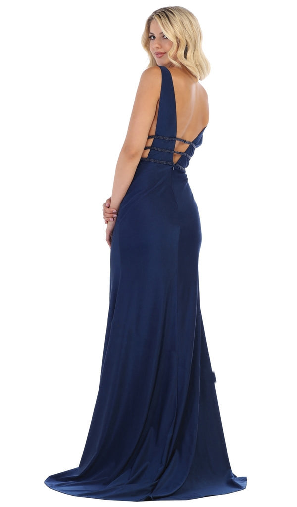 Plunging Beaded Tri-Band High Slit Gown In Blue