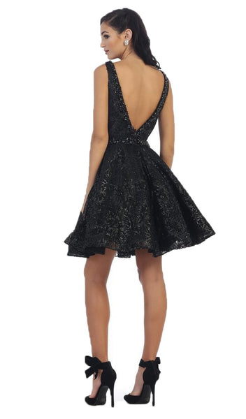 Illusion Plunging Sleeveless Cocktail Dress