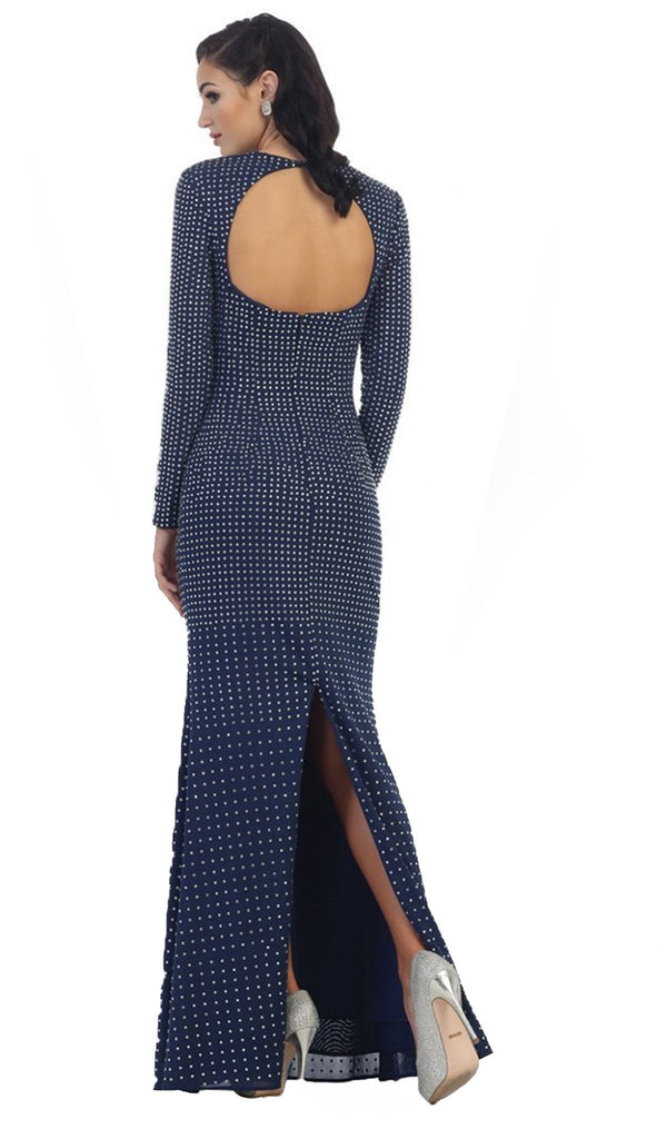 Long Sleeve Open Back Evening Dress
