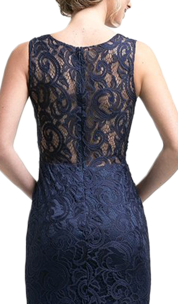 Floral Lace Mock Two-Piece Sheath Long Formal Dress