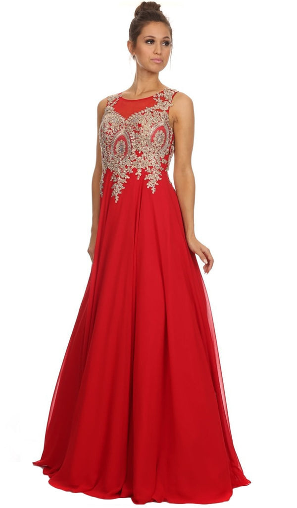 Nox Anabel - 8255 Gilded Applique Chiffon Gown