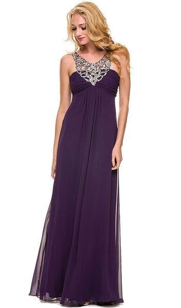 Embellished Scoop Neck Empire Waist Evening Dress