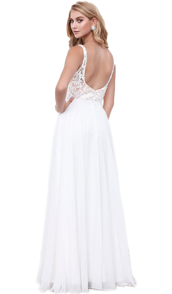 Sleeveless Lace Bodice A-Line Evening Dress