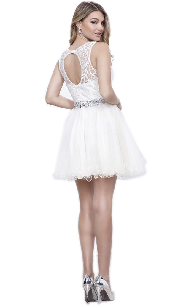 Embroidered Bodice Tulle Short Party Dress