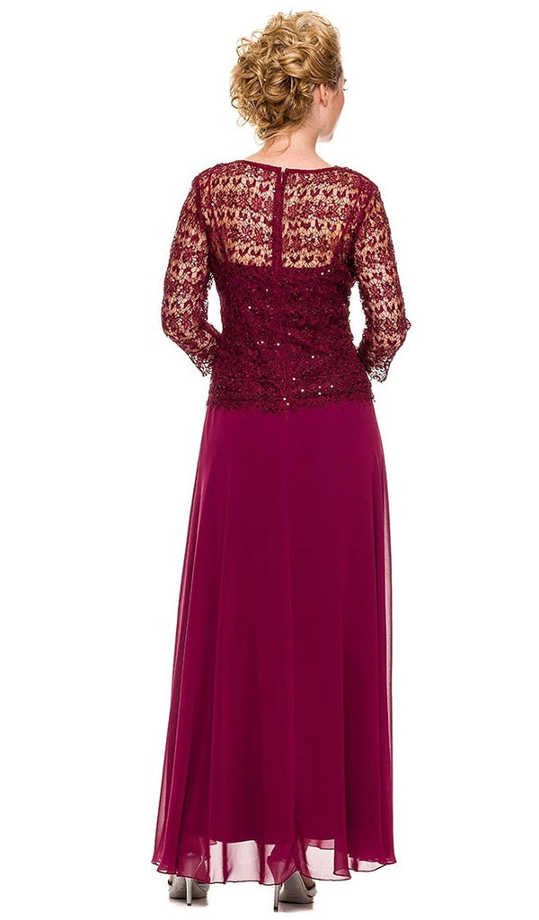 Nox Anabel - 5083 Quarter Sleeves Lace Overlay Top Long Formal Dress
