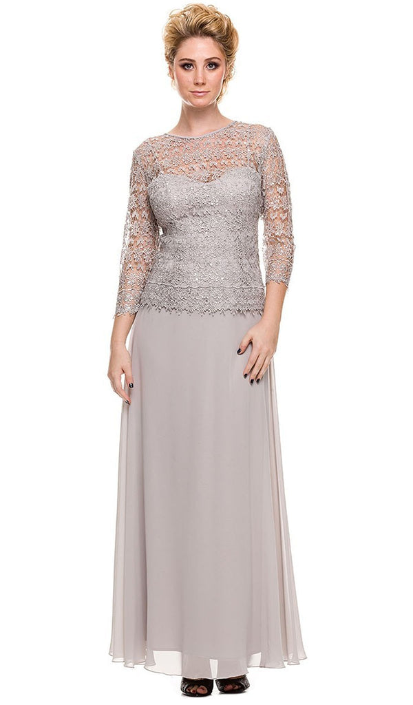 Quarter Sleeves Lace Overlay Top Long Formal Dress