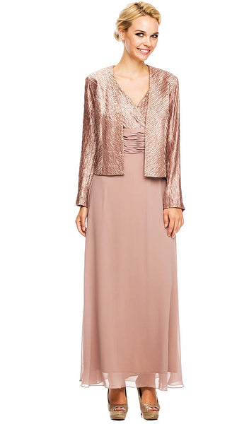 Ruched V Neck Long Formal Dress with Jacket
