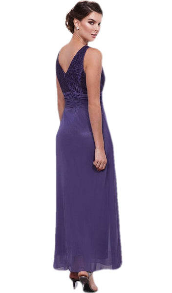 Nox Anabel - 5112 Ruched V Neck Long Formal Dress with Jacket