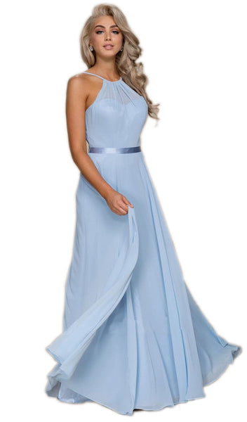 Nox Anabel - Y102 Halter Strap Lace Up Chiffon Evening Gown