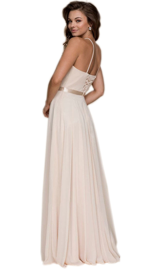 Halter Strap Lace Up Chiffon Evening Gown