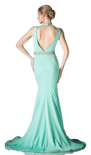 Bead Accented Deep V-neck Trumpet Dress - ADASA