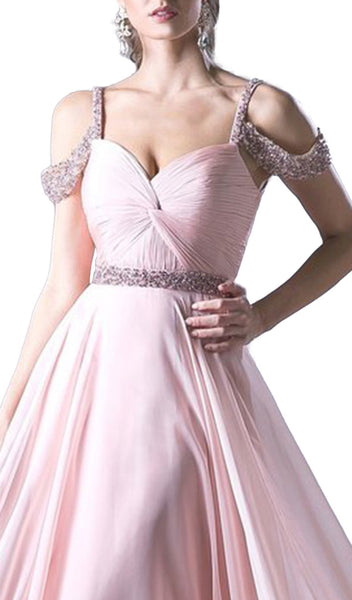 Embellished Twisted Ruched Sweetheart A-line Dress