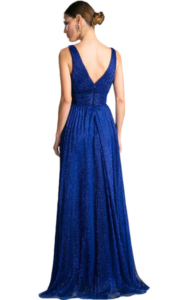Plunging V-Neck Shirr-Ornate A-Line Evening Gown