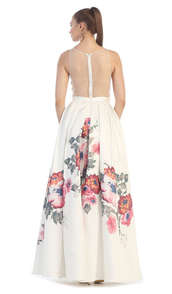 Sleeveless Floral Print Satin Evening Gown