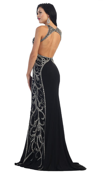 Sparkling Sleeveless Open Back Mermaid Evening Dress